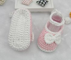 Pink Crocheted Baby Shoes With Long Band, Pink Crocheted Baby Shoes with Crochet Bow by kristin.small
