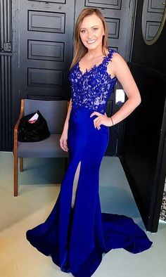Mermaid Straps Open Back Royal Blue Satin Prom#prom #promdress #dress #eveningdress #evening #fashion #love #shopping #art #dress #women #mermaid #SEXY #SexyGirl #PromDresses