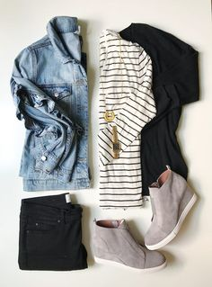 Fall Capsule Wardrobe for Busy Moms White and black striped long sleeved tee+black skinny jeans+grey wedge sneakers+black swing sweater+denim jacket+gold necklace+gold watch. Wedges Outfit, Outfit Jeans, Tennis Vans, Tennis Shoes Outfit, Women's Shoes, Casual Fall Outfits, Fall Winter Outfits, Cute Outfits, Outfits