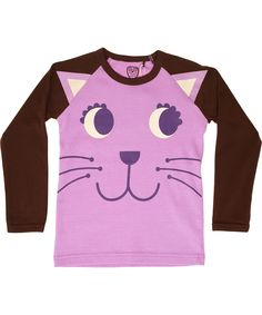 Ej Sikke Lej charming kitty purple t-shirt with brown sleeves #emilea