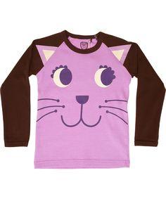 Ej Sikke Lej charming kitty purple t-shirt with brown sleeves #emilea