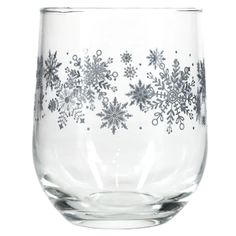 Bulk Snowflakes Printed Stemless Wine Glasses, 16.8-oz.   Dollar Tree