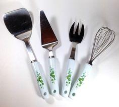 Set 4 Corelle Coordinates Callaway Ivy Serving Utensils & Tools Ceramic Handles #Corelle