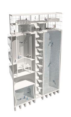 Diving and Indoor Skydiving Center, Architects: Moko Architects, Warsaw, Poland. Дайвинг центр и центр свободного полета (аэротруба), Архитектруное бюро Moko, Польша, Варшава.