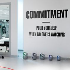 Commitment Gym Wall Decal - Motivation and Inspiring Quote for Gym Decor or even for Office Decor Focus Quotes, Wall Quotes, Wall Stickers, Wall Decals, Gym Decor, Office Decor, Gym Quote, New Wall, Textured Walls