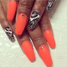Hot orange and fractal design in black and white