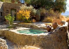 """Stone House spa at Suzanne Summers Palm Springs compound """"Les Baux""""."""