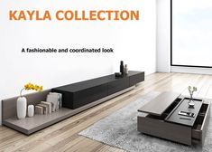 Kayla Wood Black and Gray Adjustable TV Stand Console with Storage, to - TV Stands - Living Room Furniture - Furniture Coffee Table Decor Living Room, Living Room Tv Unit, Decorating Coffee Tables, Living Room Furniture, Home Furniture, Living Rooms, Floating Tv Stand, Tv Stand Console, Black And Grey