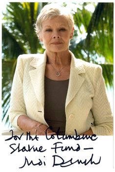 Dame Judi Dench Patron of the Columbine Statue Fund