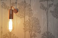 Interior Design - LLowStudio - HomeStaging - Paris - Grey and blue touches-  Wall lamp detail - Graham&Brown Wallpaper
