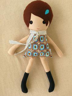 Fabric Doll Rag Doll Girl in Modern Geometric Print by rovingovine, $34.00