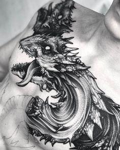 Black work hydra tattoo design on chest by @wpkorvis