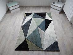 Designer Tapis Salon Tapis tendance poils courts en gris bleu vert noir, 80  x 150 cm  Amazon.fr  Cuisine   Maison 8d134a00d2c