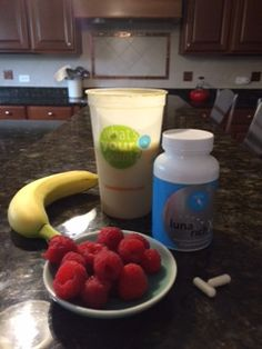 1/2 scoop NOW 1 scoop ProVantage 1/2 banana 1/4 cup raspberries  2 tsp peanut butter 1 cup water 3-5 ice cubes Mix in blender and pour in glass. Take 2 LunaRich X capsules. Mmm good!