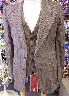 Pierre Cardin boutique vintage 40L suit brown wide lapel mens flares Jacket Vest Pants DISCO MOD. $199.99, via Etsy.