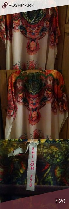 Beautiful caftan Bright sunset colors on cream background. Shiloh 770  Tops Blouses