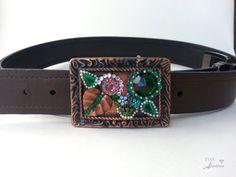 Springtime belt buckle, BoHo, Green, Copper, crystals, Vintage rhinestones, Belt not included.