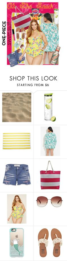 """""""At the Beach on the Bay"""" by cirlylocks ❤ liked on Polyvore featuring blomus, Forever 21, Vero Moda, Casetify, Billabong, forever21 and onepieceswimsuit"""