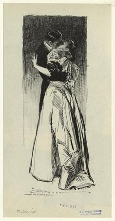 """Kissing"" 1907  Illustration  by  Charles Dana Gibson"
