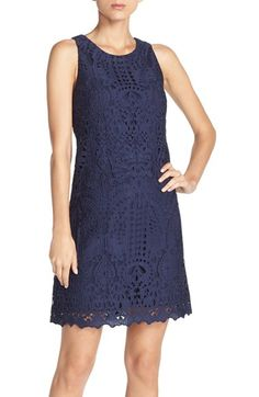 Free shipping and returns on Eliza J Sleeveless Lace Shift Dress at Nordstrom.com. Lovely lace overlays an easygoing, sleeveless shift dress finished with a subtly stylized hem.