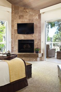 Garland Suites have a spacious wraparound deck off the bedroom and two travertine fireplaces. #Jetsetter
