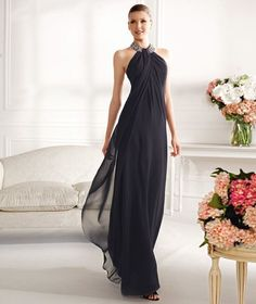 Navy chiffon mother of the bride dress by Landy Bridal