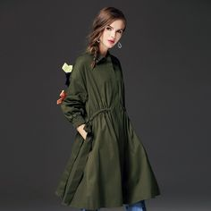 Sale Price $63.19, Buy New Classic Solid Long Women Coat Relaxed Fit Female Trench Coat with Bows Sha064
