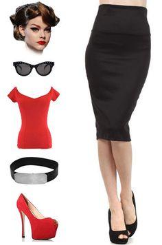 BLACK HIGHWAIST 50s PINUP Style Essential PENCIL Skirt ~ Sizes SM MD LG 1X 2X 3X #PrivateManufacturer #StraightPencil