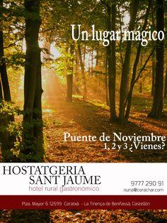 Cartel realizado para promocionar a la Hostatgeria Sant Jaume en el Puente de Noviembre, si os gusta hacer Repin......