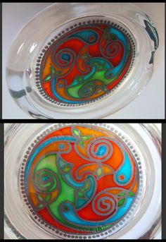 Small hand painted ashtray with Celtic spiral design Celtic Spiral, Hand Painted, Plates, Tableware, Gifts, Design, Mugs, Licence Plates, Dishes