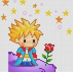Point de croix Le petit prince Cross stitch The little Prince Beaded Cross Stitch, Cross Stitch Baby, Cross Stitch Charts, Cross Stitch Designs, Cross Stitch Embroidery, Embroidery Patterns, Cross Stitch Patterns, Baby Embroidery, Pixel Art