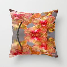 Orchid Reflections Throw Pillow by Judy Palkimas - $20.00