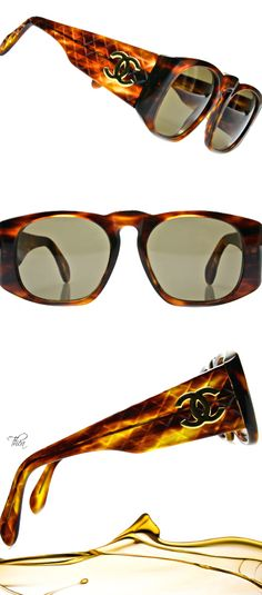 bb2d2272944 Vintage Chanel ○ CC logo Matelasse Temple Sunglasses Chanel Sunglasses