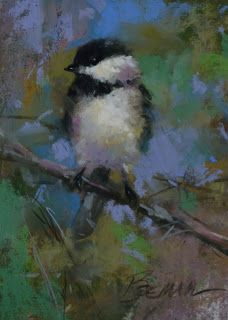 """Strong Footing"" pastel Chickadee by artist Mike Beeman."