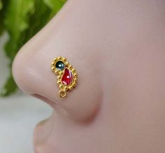 Gold Nose,925 Sterling Silver,Crystal Ring,Medusa Nose Stud,Nose Jewelry,Clicker #BodyJewelry
