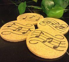 Wood burned cork coasters music note decorative by ScratchandBurn