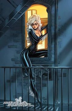 Black Cat from The Marvel Comic Universe. Comic Book Characters, Comic Character, Comic Books Art, Comic Art, Marvel Girls, Comics Girls, Marvel Art, Black Cat Marvel, Spiderman Black Cat