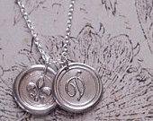 Valentines Gift / Two Monogrammed Initial Wax Seal Pendants /  FLEUR DE LIS / Graduation/  a b c d e f g h i j k l m n  o p r s t u v w z