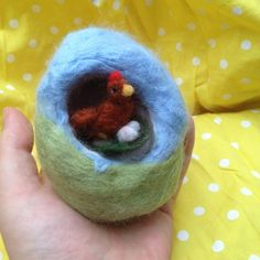 Needle Felted Easter Egg with Chicken and by ThePotOfGold on Etsy