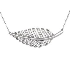 Featuring a beautiful leaf design, this necklace features round-cut, prong-set cubic zirconia stones to beautifully give this necklace a shimmering look. This necklace is finished by a spring ring clasp.