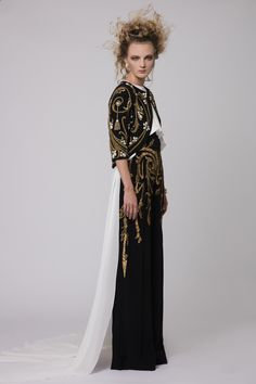 """Azzi & Osta Couture Fall/Winter 16/17   """"Promises Of Dawn""""    Black, White, Gold, Tailored Jacket, Top, Pants, Crepe, Silk Chiffon,  Hand Embroidery, White Pearls, Metallic Gold Thread"""