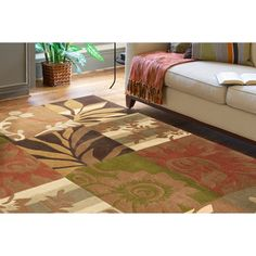 Hand-tufted Equinox Rust/Brown Polyester Rug (5' x 7'9)