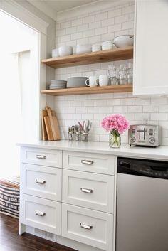 white kitchen, wood shelves, pretty details