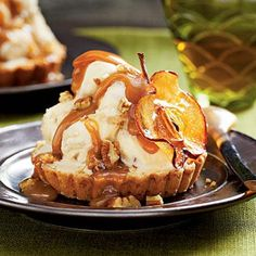 Caramel Apple Ice Cream Tarts | This shortbread crust is the perfect foil for ice cream. | SouthernLiving.com