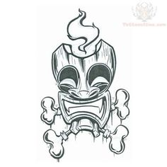 tiki tattoo | Tiki Mask With Bones Tattoo Design: