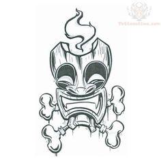 tiki tattoo | Tiki Mask With Bones Tattoo Design: