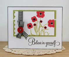 Supplies: All supplies PTI unless otherwise stated stamps Bonanical Silhouettes and Script Sentiments, inks Pure Poppy and Simply Chartreuse, patterned paper Simply Chartreuse stripe, Pure Poppy button the ribbon and pearls were from my stash