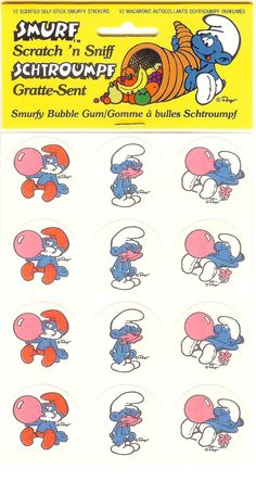 Smurfy Bubble Gum Scratch & Sniff Smurf Stickers
