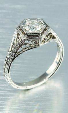 Platinum Edwardian Hexagon engagement ring perfection!!