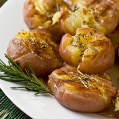 Grilled Smashed Potatoes...a terrific Thanksgiving side dish you can finish on your panini maker